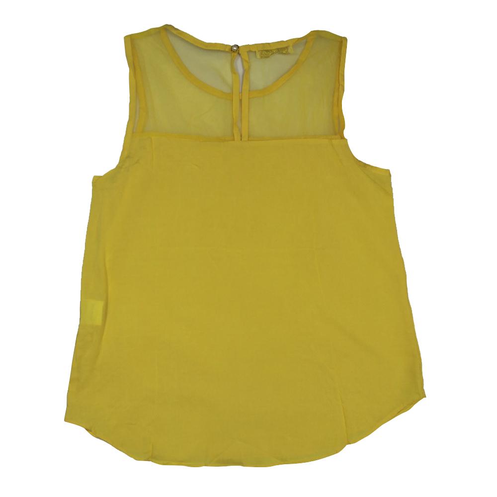 eb643639b8 Blusa regata em viscose detalhe em tule amarela