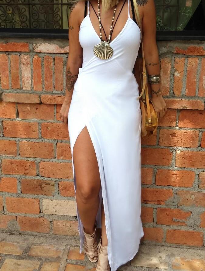 2fd2e94a0b Vestido Envelope Longo Branco